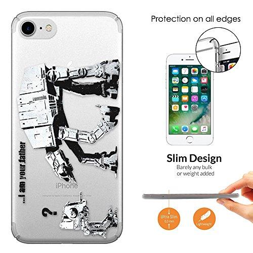 """c00070 - Banksy Graffiti Art Star Wars Robot Design iphone 7 Plus 5.5"""" Fashion Trend Leichtgewicht Hülle Ultra Slim 0.3MM Kunststoff Kanten und Rückseite Protection Hülle - Clear"""