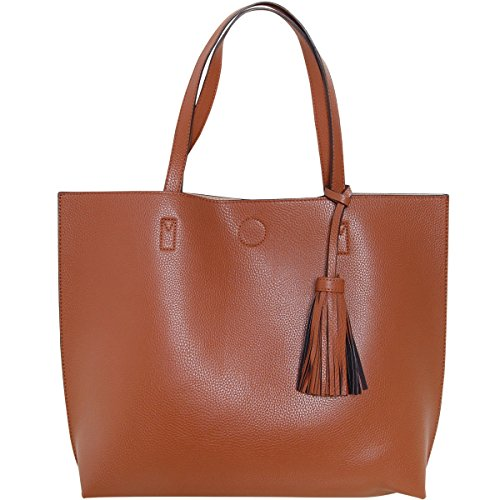 Humble Chic Large Vegan Leather Tote Bag Reversible Shoulder Handbag Tassel Purse, Saddle Brown & Tan, Camel, Cognac, Walnut, Beige, Nude, Light Brown (Reversible Leather Tan)