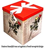 Gift Box 10''X10''X10'' - Les Roses Collection - Easy to Assemble & Reusable - No Glue Required - Ribbon, Tissue Paper, and Gift Tag Included - EZ Gift Box by Endless Art US