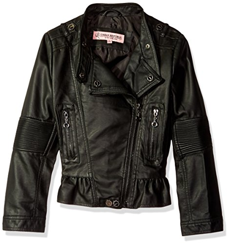 Girl Motorcycle Jackets (Urban Republic Big Girls' Faux Leather Moto Jacket, Black,)