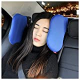 AUTOLOVER Adjustable Car Seat Headrest Soft Neck Support Pillow for Kids Adults (blue)