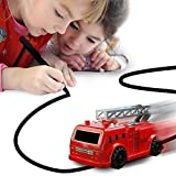 Nylea Magic Vehicles Inductive Truck [Follows Black Line] Magic Toy Car for Kids & Children - Best Toddler Toys MINI Magic Pen Inductive Fangle Kids Car Follow (Red Fire Truck)