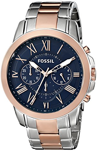 Fossil Men's FS5024 Grant Chronograph Two-Tone Rose and Silver Stainless Steel ()