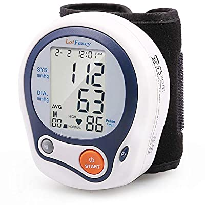 """LotFancy Wrist Blood Pressure Monitor, Digital Blood Pressure Cuff (5""""-8""""), 60 Reading Memory, Digital Sphygmomanometer for Irregular Heartbeat Detection, Portable Case Included"""