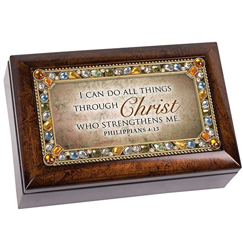 All Through Christ Amber Earth Tone Jeweled Petite Music Box Plays How Great Thou Art (Box Music Precious Daughter)
