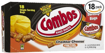 Cheese Real Cheddar (Combos Cheddar Cheese Pretzel Snack 1.8 Oz Bag - 18 count)
