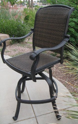 Santa Clara Outdoor Patio Set 6pc Swivel Barstools 30 H Dark Bronze Cast Aluminum