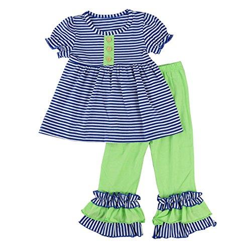 Wennikids Toddler Girls Short Sleeve Ruffle Shirts and Pant Clothing Sets Small Navy Blue Stripe