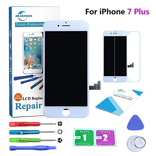 Qi-Eu LCD Display for iPhone 7 PLUS 5.5 inch Touch Screen Digitizer Replacement with 3D Touch Assembly - White, Repair Tools Kit and Instructions are Included