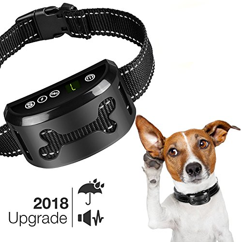 Bark Collar [2018 Upgrade Chip] - Dog No Bark Collar with Static Vibration Correction,USB Rechargeable with 7 Sensitivity Levels for All Breeds and Sizes, Trainer Recommended Dog Bark Control Device - Dog Correction Collar