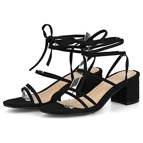 ca921f5f ... COOLCEPT Mujer Moda Cordones Sandalias Punta Abierta Tacon Ancho  Slingback Zapatos Negro