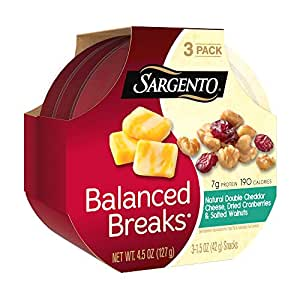 Sargento Balanced Breaks, Natural Double Cheddar Cheese, Dried Cranberries and Salted Walnuts, 1.5 oz., 3-Pack