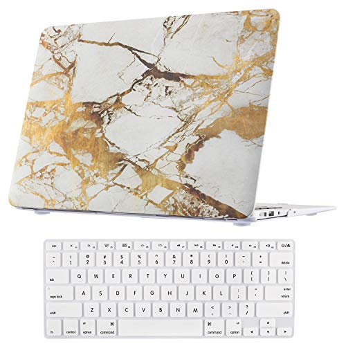 Macbook Air 13 Inch Case, TeenGrow Plastic Hard Protective Smooth Macbook Shell Case with Keyboard Cover for Macbook Air 13'' (Model:A1369 And A1466), golden marble by TeenGrow