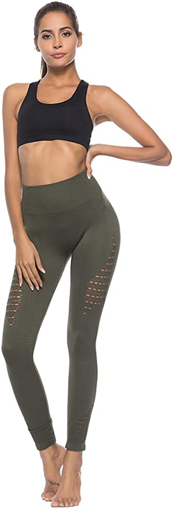 Kaiui Aidof Womens Yoga Pants Tummy Control High Waist Leggings Non See-Through Workout Leggings