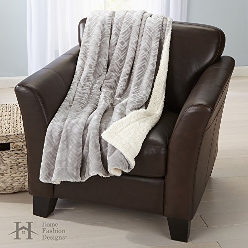 Premium Reversible Two-in-One Berber and Sculpted Velvet Plush Luxury Blanket., Cozy, All-Season Sherpa Throw Blanket. By Home Fashion Designs Brand. (Pewter) (Throw Plush)