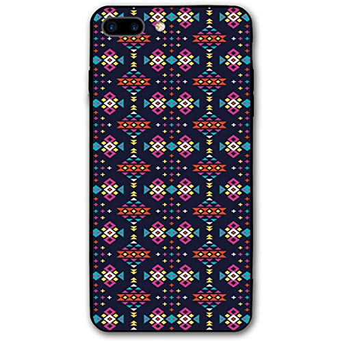 (Compatible with iPhone 7 Plus Case & iPhone 8 Plus Case, Dark Toned Squares Triangles Oriental African Motifs Tribal Culture Inspirations,Soft Rubber Phone Case Cover)