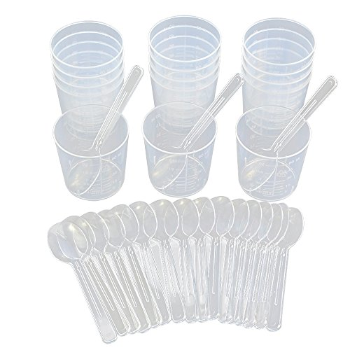 15pcs 2OZ Graduated Cups with 20pcs Plastic Applicators Sticks for Mixing Paint Stain Epoxy Resin, Wobe Mixing Cups & Stir Spoons Measuring Cups Medicine Cups Beaker Lab Cooking Liquid Container