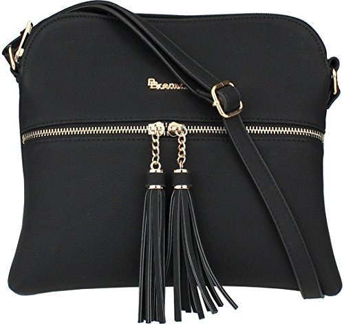 Trendy Tassel Messenger Bag Black - 1