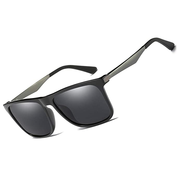 e829ef5217 Amazon.com  Polarized Sunglasses for Men Women 100% UV Protection  Rectangular Vintage Mens Sunglasses (PE306 Bright Black)  Clothing