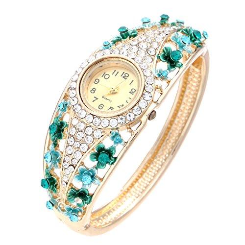 Women's Geneva Butterfly Rhinestone Stainless Steel Watch Gold - 2