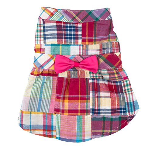 (The Worthy Dog Patch Madras Dress for Dogs, Medium, Bright)