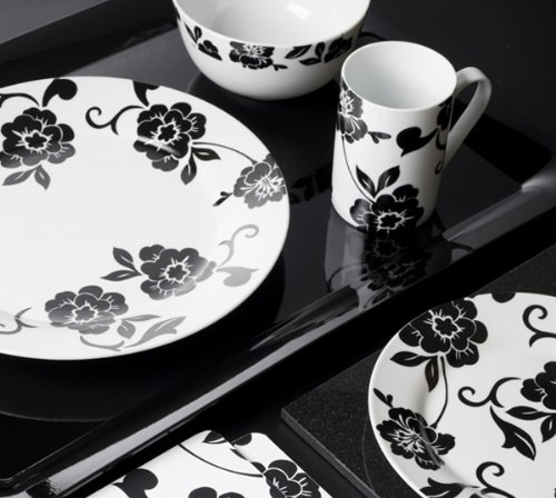 "Creative Tops 16-Piece ""Vivienne"" Dinner Set - White / Black DSC1105"