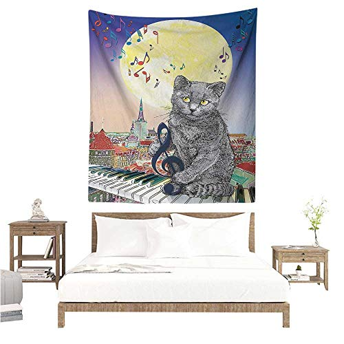 WilliamsDecor Wall Hanging Tapestries City Musical Notes Cat with The Keyboard on Rooftops in Night Sky Old Town Full Moon Art Print 40W x 60L INCH Suitable for Bedroom Living Room Dormitory