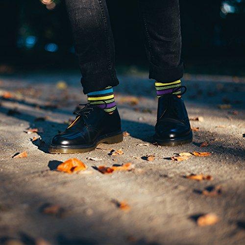 Colorful Cotton Socks, LADUNCIAGA Business Wedding Socks 6 Pack Designed Novelty Happy Funny Crew Colorful Stripe Bridgegroom Groomsmens Socks by LANDUNCIAGA (Image #2)