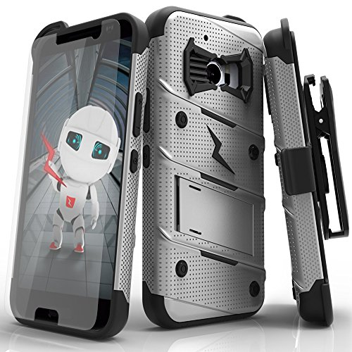 HTC 10 Case, Zizo [Bolt Series] with [HTC 10 Tempered Glass Screen Protector] Kickstand [12 ft. Military Grade Drop Tested] Holster Belt Clip - HTC 10 (Best Htc Phone Ever)