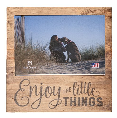 Enjoy the Little Things Rustic Natural 7 x 7 Wood Box Wall Photo Frame Plaque
