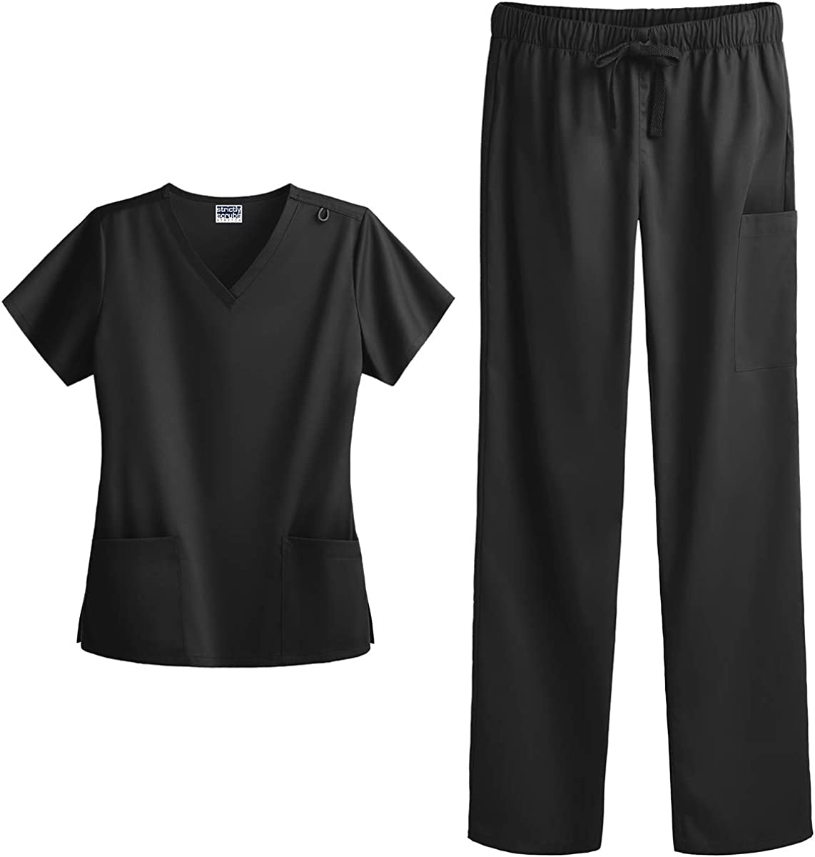 Strictly Scrubs Women's Four Way Stretch Scrub Set - Includes V-Neck Top and Pant: Clothing