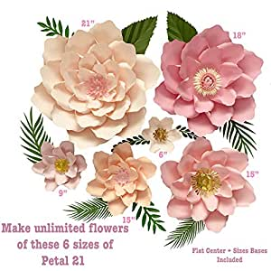 6 Sizes Petal 21 Paper Flower Templates Flat Centers Bases To Create Unlimited Giant Paper Flowers For Paper Flower Wall For Wedding Birthdays
