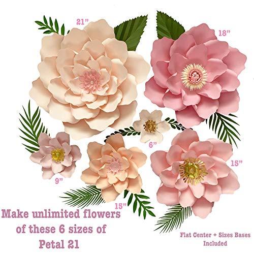 Flower Petals Template - 6 Sizes Petal 21 Paper