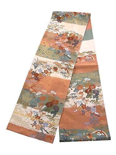 道を作るマウス機関車リサイクル 袋帯 正絹 六通 花鳥流水文 唐織