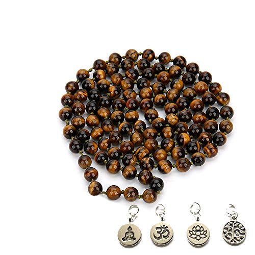 BALIBALI 8MM 108 Mala Beads Necklace Semi-Precious Gem Stones Tibet Tibetan Mala Meditation Necklace 108 Hand Knotted Japa Yoga Beaded Necklace