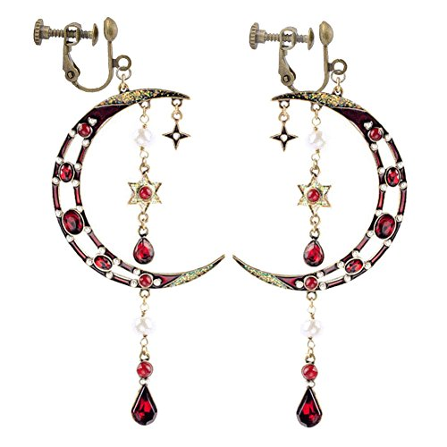 Moon and Star Long Dangle Earrings Simulated Pearl Clip on Earrings Tassel Red Crystal for Girls Women ()