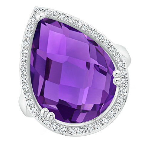 (Pear-Shaped Amethyst Cocktail Ring with Diamond Halo in 14K White Gold (18x13mm Amethyst))