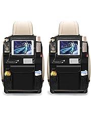BANNIO Autostoel organizer, 2 stuks, waterdichte kickmatten, autoradiator, achterbank met meerdere zakken, inclusief 12,9 inch iPad tablethouder
