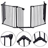 JAXPETY 25'x 30' 5 Panel Baby Safety Fence Hearth Gate BBQ Fire...