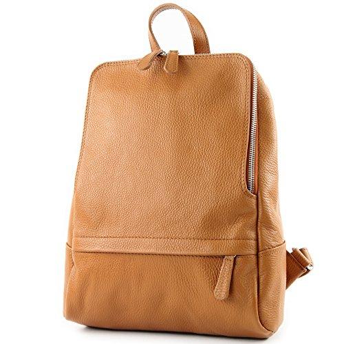 Modamoda De - Ital. Sac à dos en cuir pour femme Sac Citybag T138 Camel