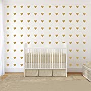 JOYRESIDE 2inchx100 Pieces DIY Heart Wall Decal Vinyl Sticker For Baby Kids Children Boy Girl Bedroom Decor Removable Nursery Decoration (Matte Gold)