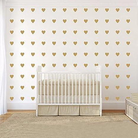 JOYRESIDE 2 inch x100 Pieces DIY Heart Wall Decal Vinyl Sticker for Baby Kids Children Boy Girl Bedroom Decor Removable Nursery Decoration Gray