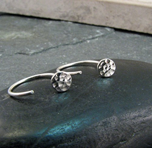 Sterling Silver Sleeper Earrings with 4mm Studs - Hammered Sterling Silver Ear Hugging Hoops