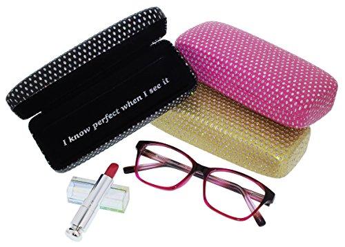 Evolution Eyes Womens Hard Eyeglass Case, Sparkle Glitter Dots On Black Finish
