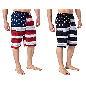 US Apparel Men's American Flag Inspired Board Shorts
