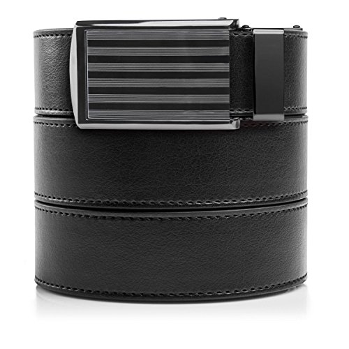 SlideBelts Men's Vegan Leather Belt without Holes - Bar Striped Buckle/Black Leather (Trim-to-fit: Up to 48