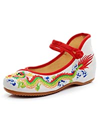Cheongsam Dragon Embroideried Mary Jane Flats Women Casual Canvas Aerobic Shoes