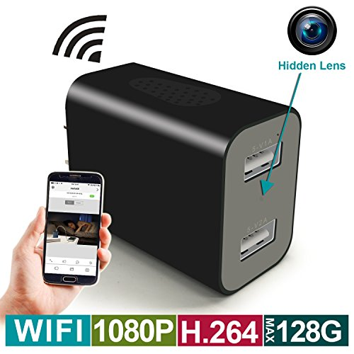 WIFI Hidden Camera - Spy Camera Wireless USB Wall Charger - HD 1080P, H.264 Video Recorder App Remote View, Motion Detection, Alarm Message, Charging Phones - Nanny Cam(Support MAX 128G SD card)