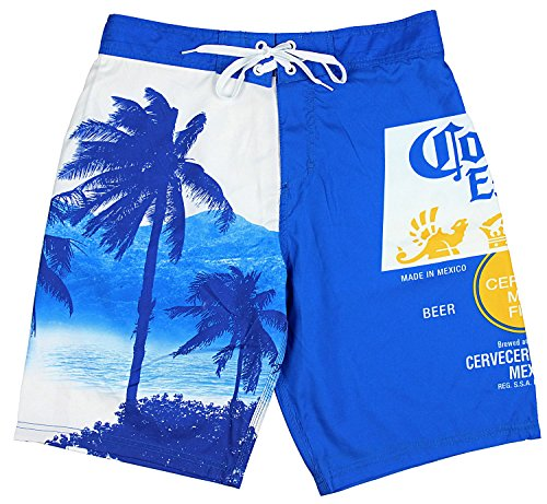 Corona Extra Bottle Label & Palm Trees Men's Blue Swim Board Shorts (Large) ()