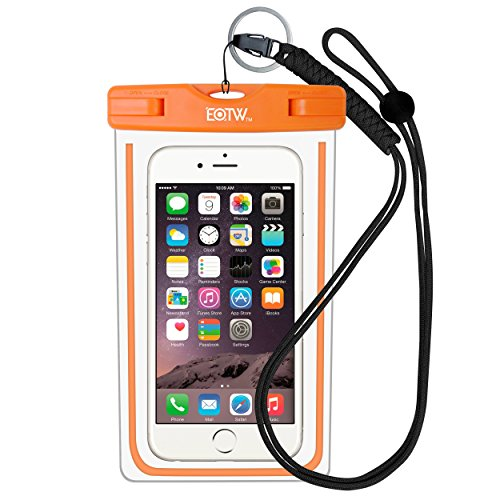 Waterproof Case Bag : EOTW Waterproof Dry Bag with Military Class Lanyard; IPX8 Certified to 100 Feet for Kayaking Swimming, Fit iPhone 6 6s 5s SE, Galaxy S7 S6 S5, Note 5 4, LG Blu HTC -Orange+Black (Clip Shuttle Case)